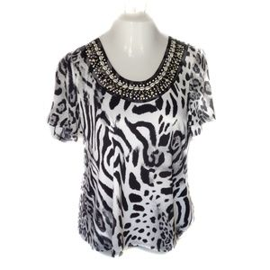 Susan Graver White Tiger Print Blouse Beaded Top